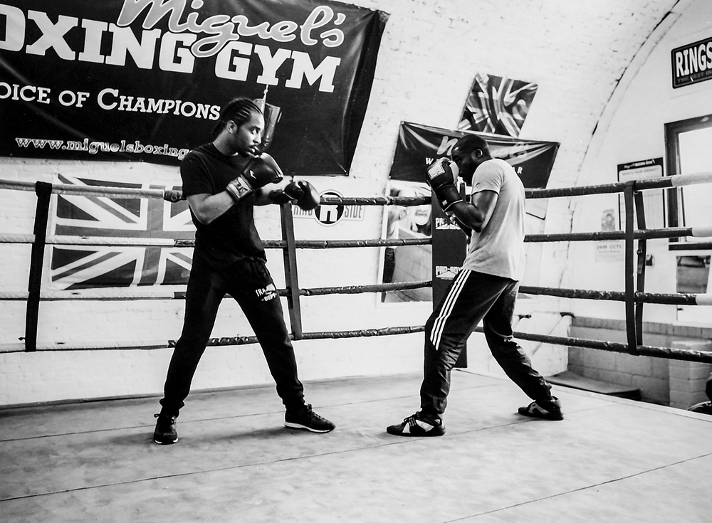 Shamiri and Jamaine sparring Miguel's Boxing Gym, Hardess Street, Loughborough Junction SE24