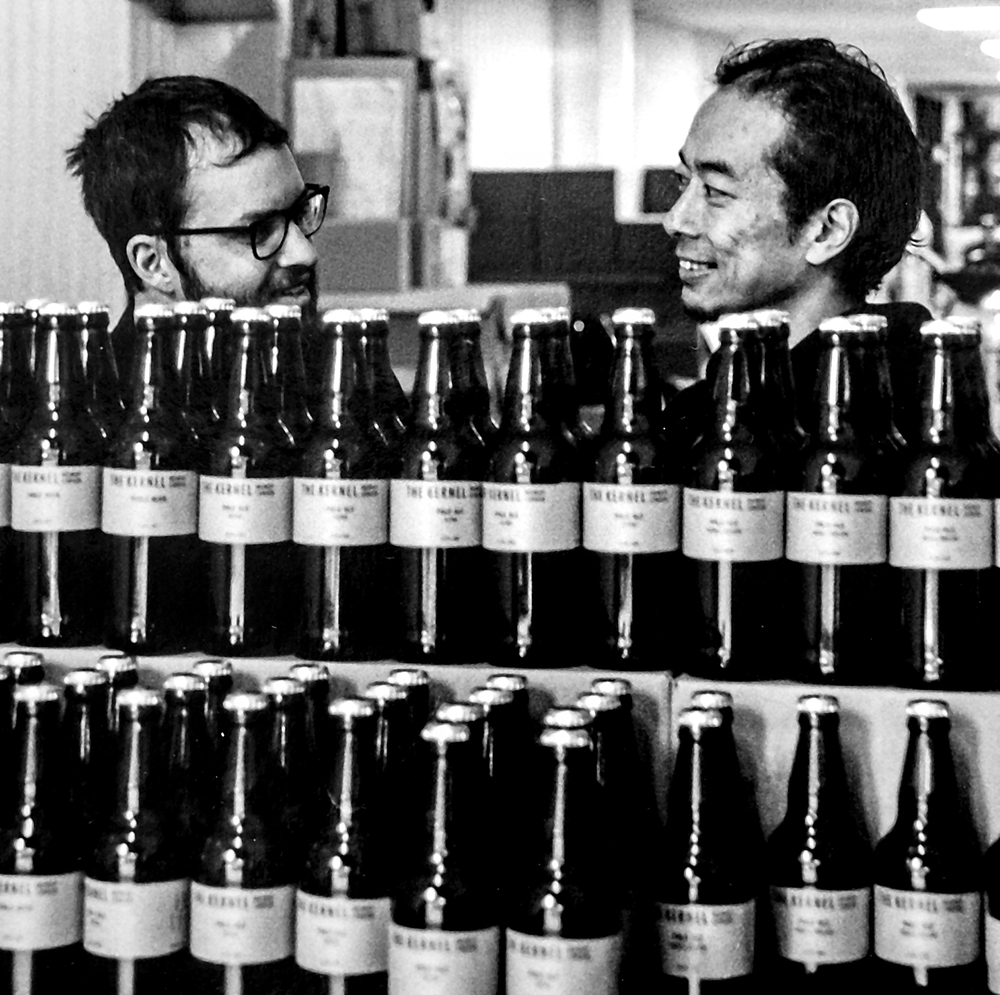 Jonah and Chun behind the bottles  The Kernel Brewery, Dockley Road, Bermondsey SE16