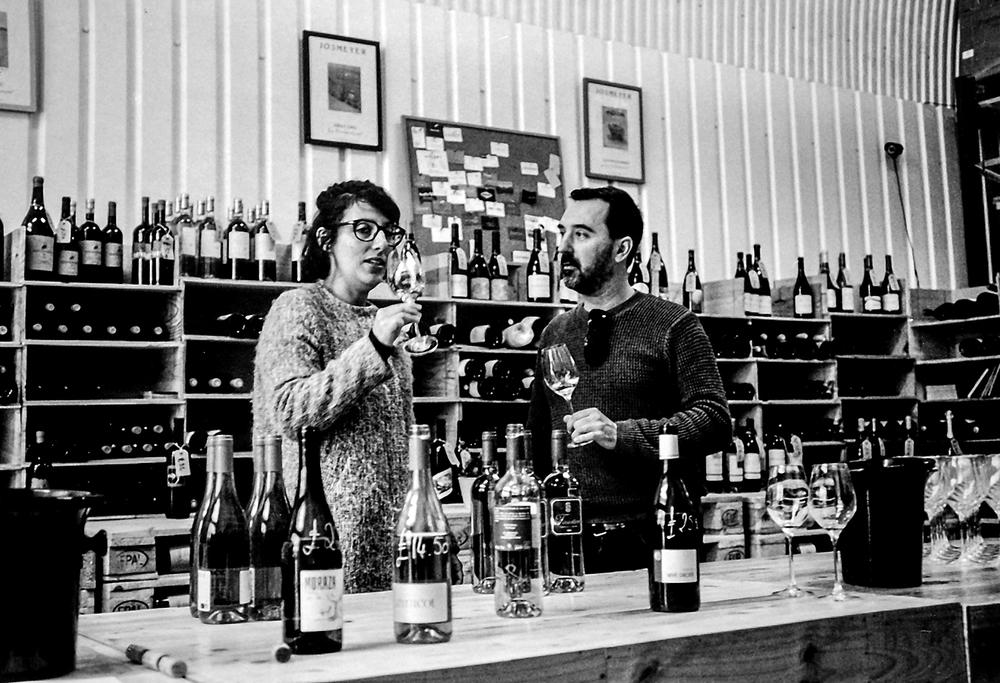 Laura and Guillaume tasting  Dynamic Vines, St James's Road, Bermondsey SE16