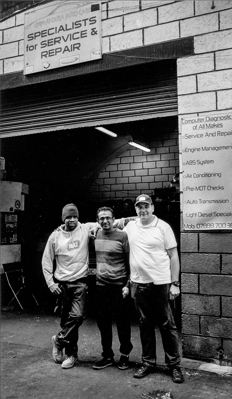 Three workmates  Mickey, Fayyaz and Mohammad at Umm-Al Qura Auto Care, Leabridge Road, Leytonstone E10