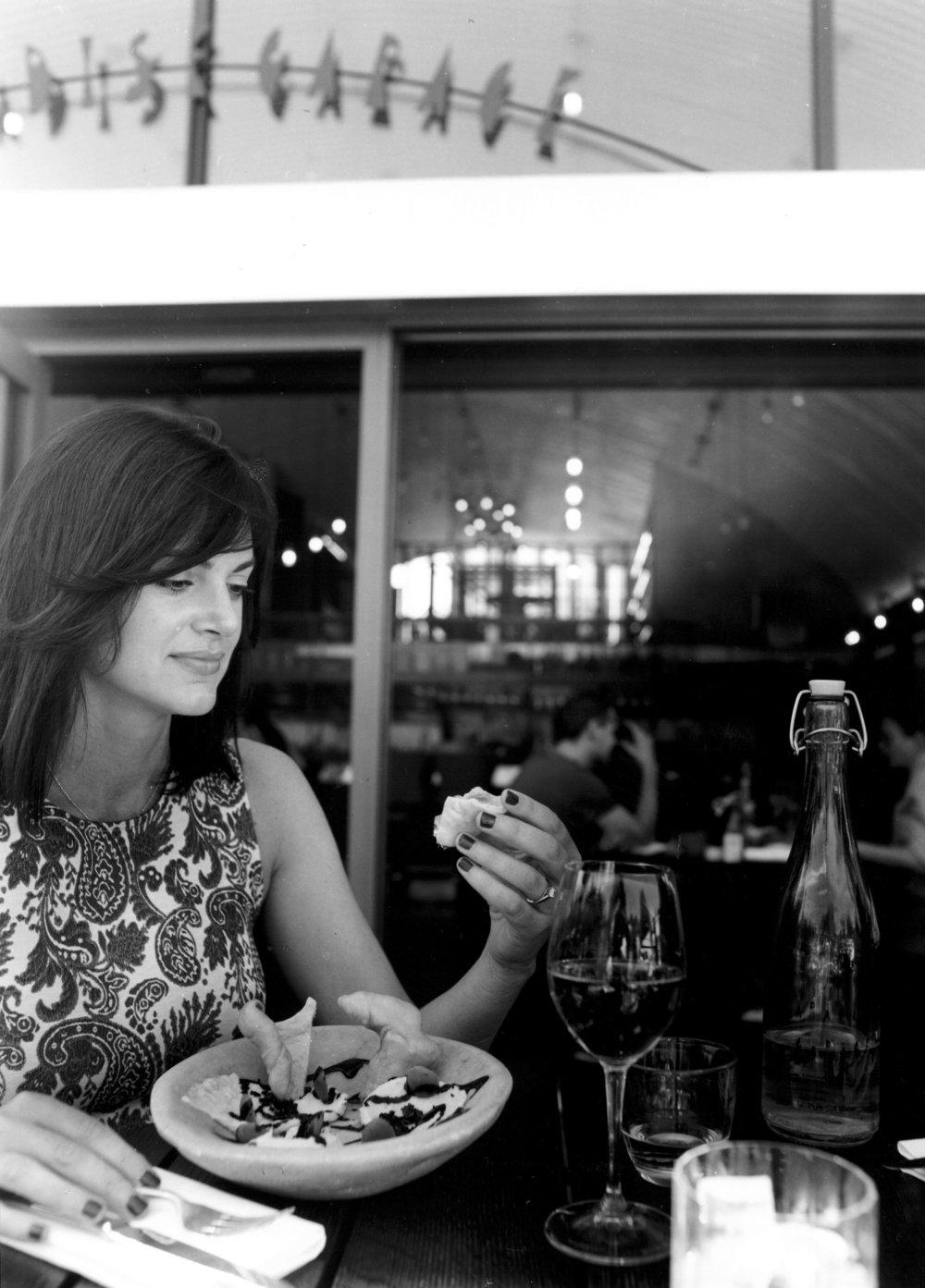 Silvia eating Salt Cod Brandade