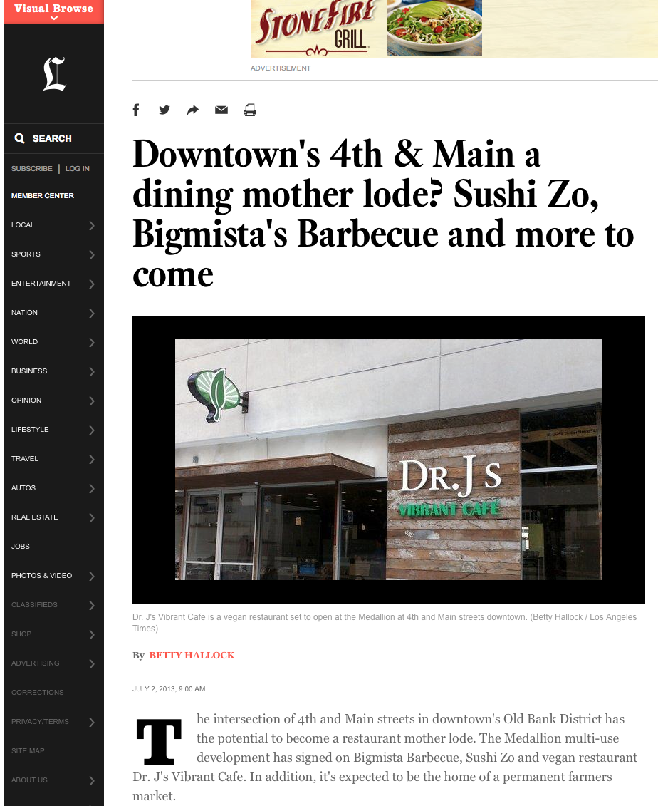 Downtown's 4th & Main a dining mother lode? Sushi Zo, Bigmista's Barbecue and more