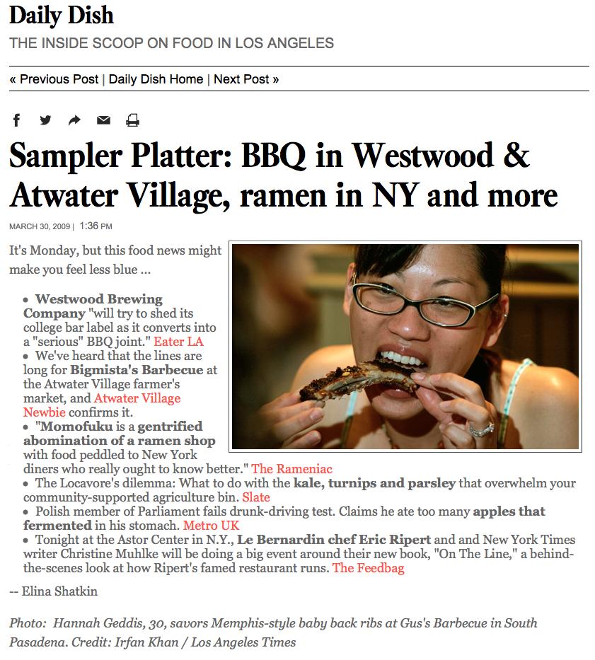 Sampler Platter: BBQ in Westwood & Atwater Village