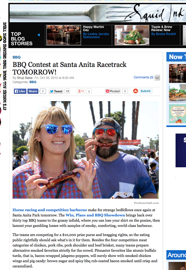 BBQ Contest at Santa Anita Racetrack TOMORROW!