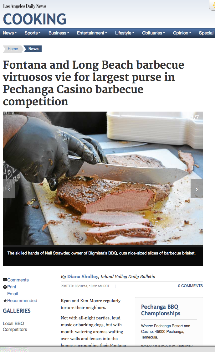 Fontana and Long Beach barbecue virtuosos vie for largest purse in Pechanga Casino barbecue competition
