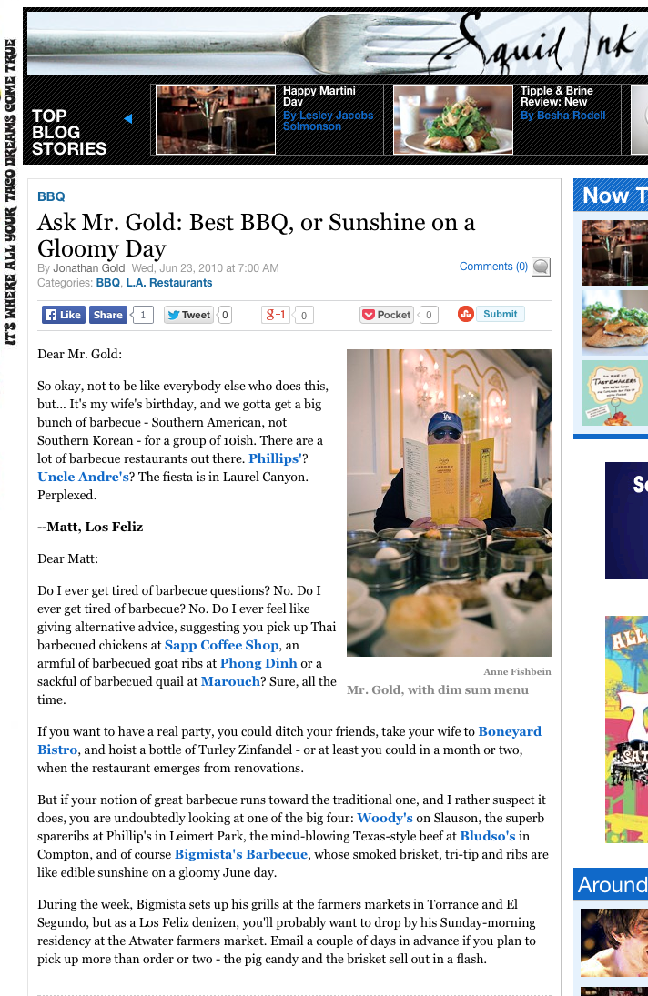 Ask Mr. Gold: Best BBQ, or Sunshine on a Gloomy Day
