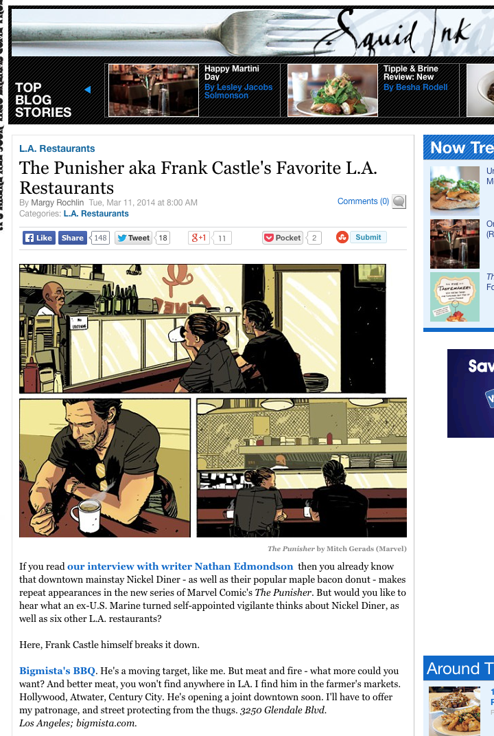 The Punisher aka Frank Castle's Favorite L.A. Restaurants
