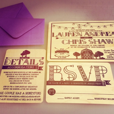 Lauren-Chris Wedding Invites/Letterpress Jess