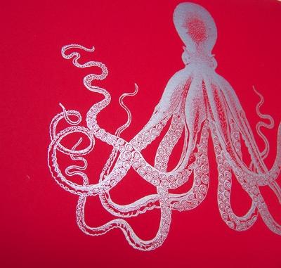 Octopus Art Print/Letterpress Jess
