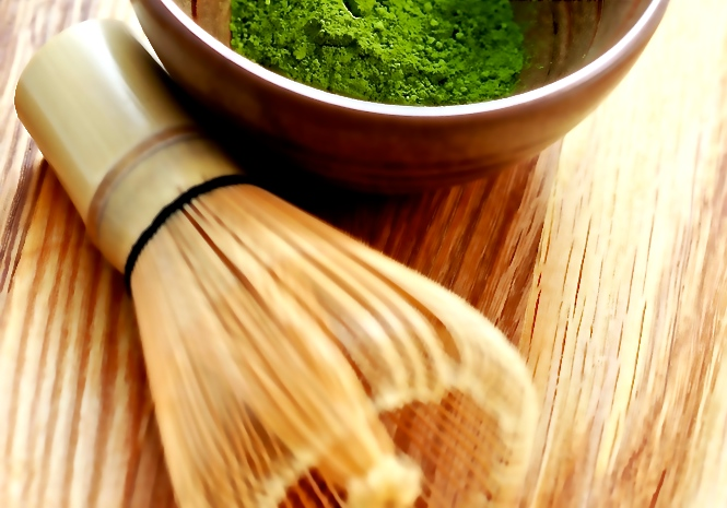 Matcha green tea and whisk