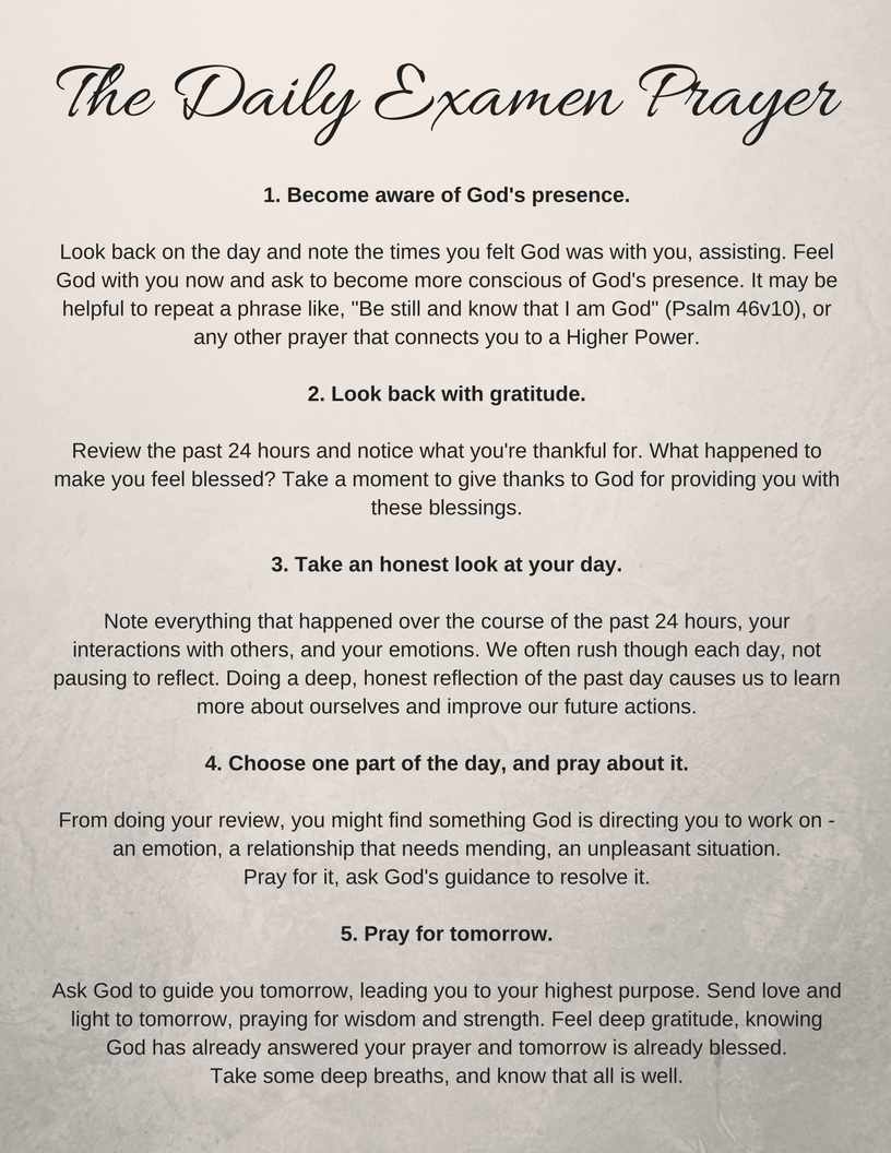 Free printable of the beautiful Daily Examen prayer of gratitude. Such a lovely nightly prayer of gratitude to end each day on a powerful note. #gratitude #prayer #grateful