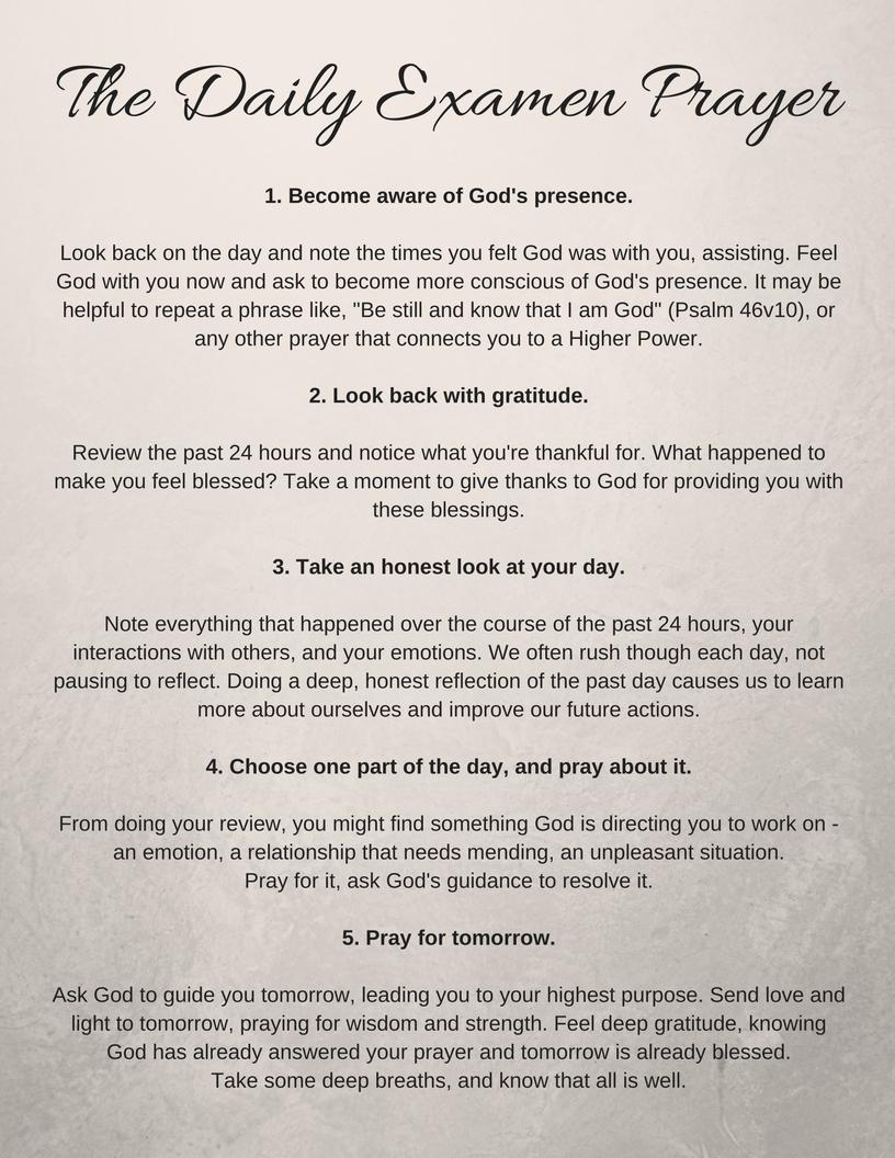 Daily Examen instructions