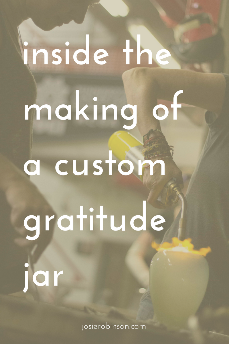 How to make a custom handmade glass Gratitude Jar with master artisan Rachel Masica from Vandalia Glassworks in Minneapolis. #gratitudejar #gratitude #glassblowing #glassart