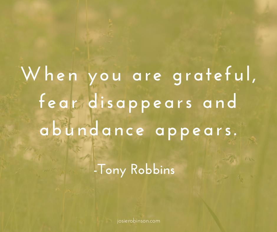 Tony Robbins quote on gratitude and abundance