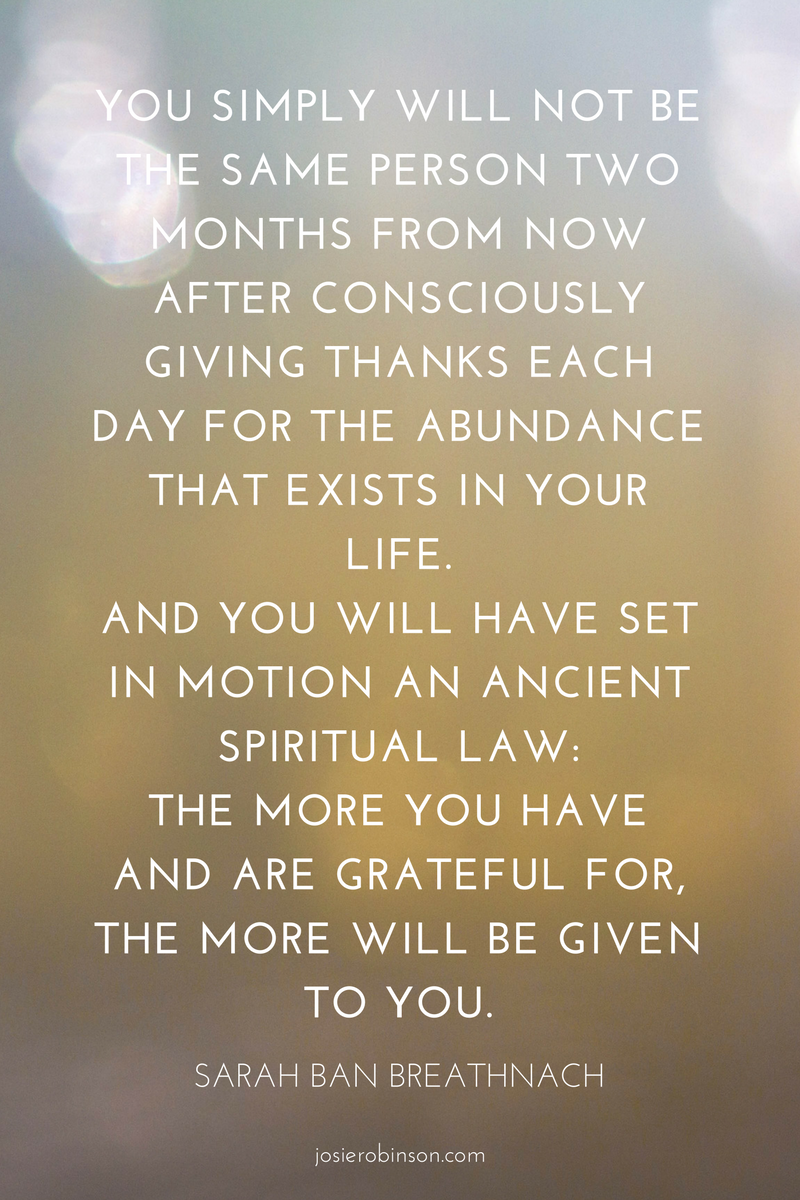 Sarah Ban Breathnach quote about gratitude