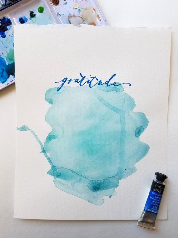 Beautiful gratitude painting from TheHappyYogi on Etsy