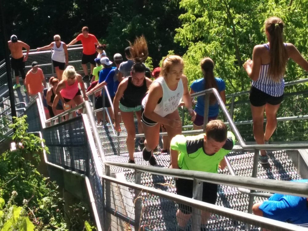 Athletes on the Stairs