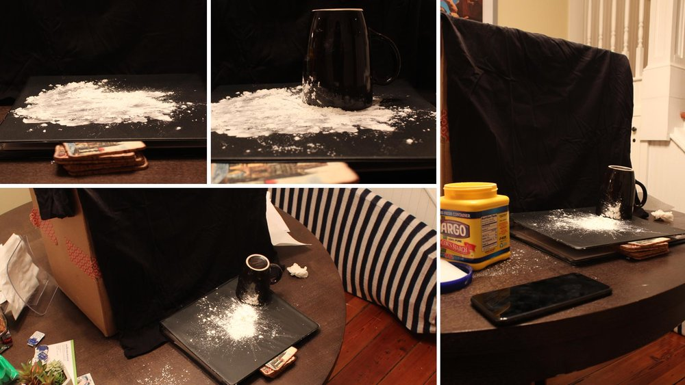 Production photos from creating just the right look of flour on a table top and edge of a cup. Selected stills were used to composite onto the final shot of Amazon Alexa Moments: Santa Tracker