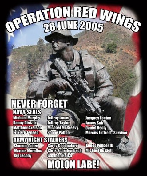 #neverforget always #remember the 19 men who gave their lives for our country June 28, 2005.  #operationredwings  11 Navy SEALS and 8 Army Night Stalkers  #honor always #RIP  #thankyou keep all these families in your prayers