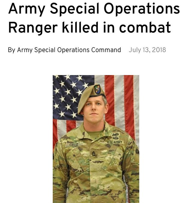#saytheirnames #rip  SFC Christopher Andrew Celiz  1st Battalion 75th Ranger Regiment  #armystrong #honor always #neverforget always #remember  #RIP July 12, 2018  Rest easy and may your family find peace  Thank you for your service to our country 🇺🇸