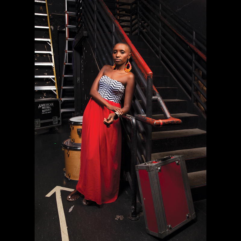 Naomi Wachira photographed backstage at The Triple Door