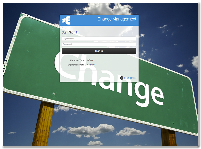 CHANGE MANAGEMENT LOGIN PAGE -  Click for more detail.