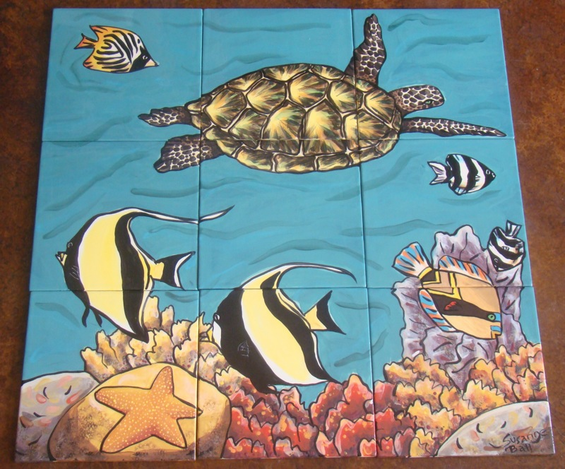 Six Piece Turtle and Fish Tile Mural