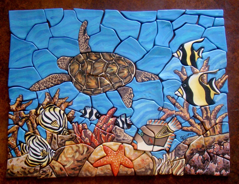 Fish and Turtle Tile Mural