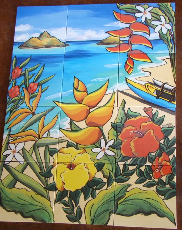 12 Tile Lanikai Beach Mural