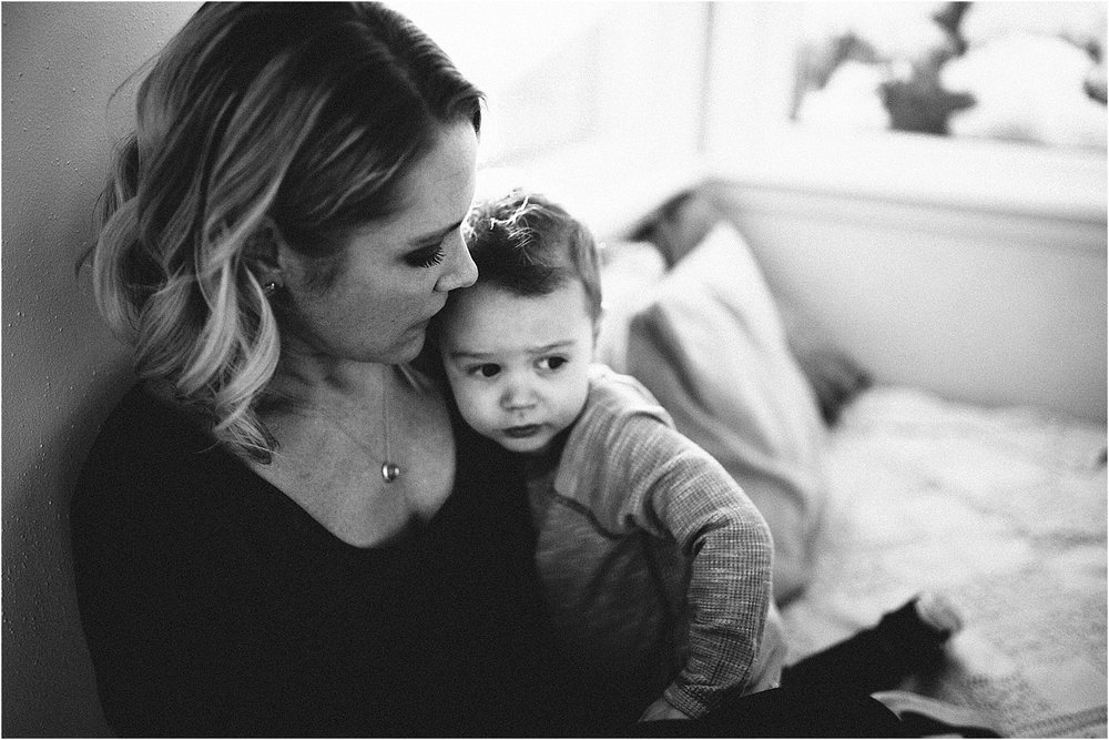 black and white motherhood photo