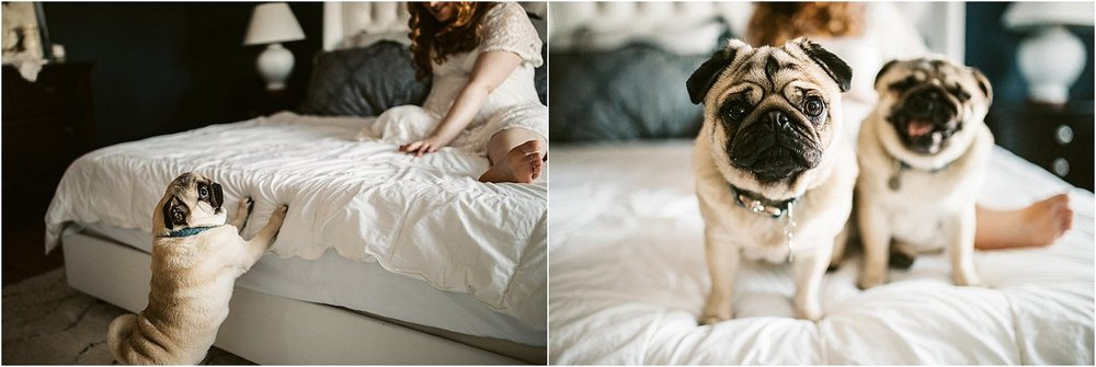 Maternity session with white lace dress Portland in-home session