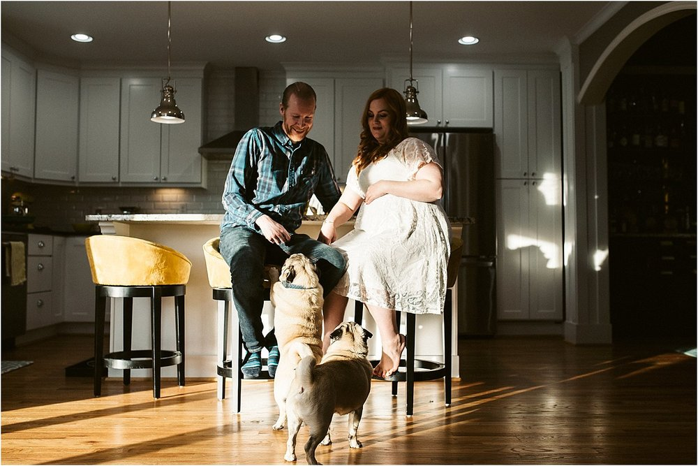 Modern kitchen showcased during an in-home maternity session