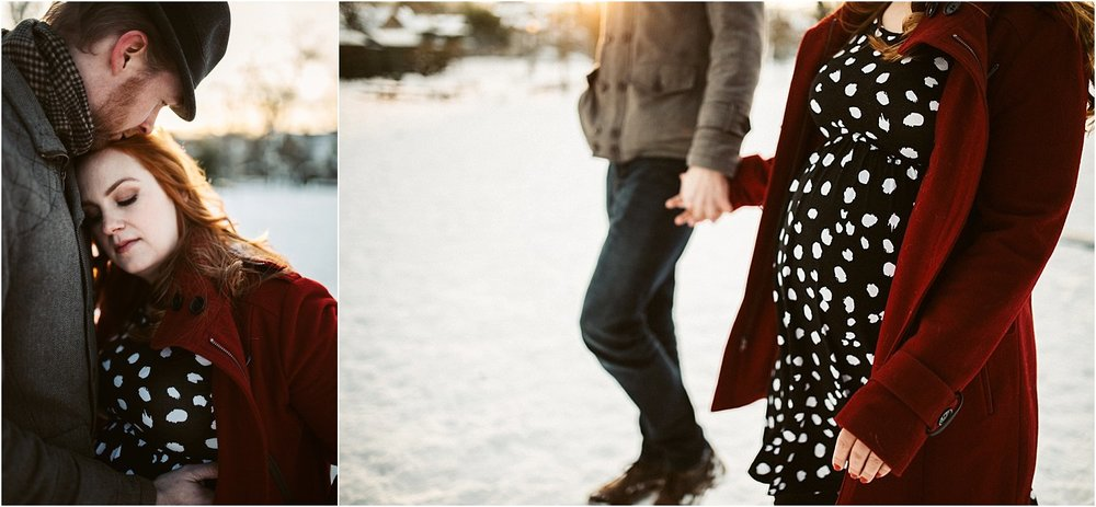Pregnant couple walking hand in hand, documentary maternity photo session-Portland