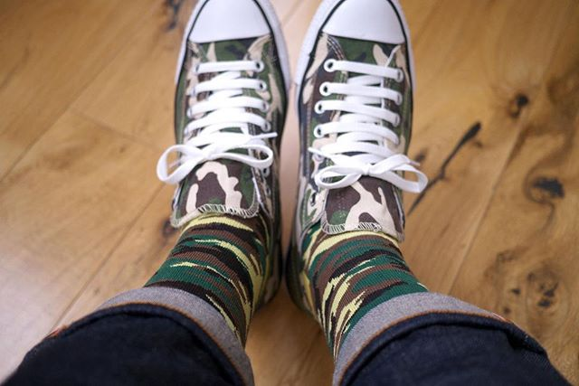 happy #camotuesday everybody.  blend in, stand out, wear socks.  #camotuesday #sockclublondon #thirdruleofsockclub #camo #selvedge #converse
