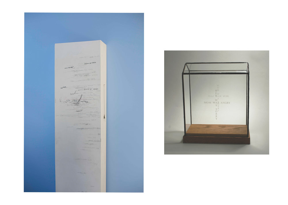 The inspirational objects: our Growth Chart and  Cross Purposes , a glass and wood sculpture I made in 2000.