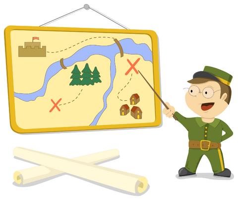 plan of attack cartoon soldier