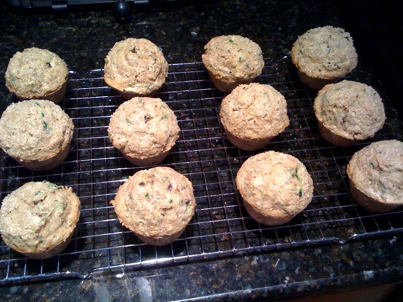 zucchini muffins after