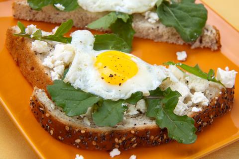 open faced fried egg sandwich