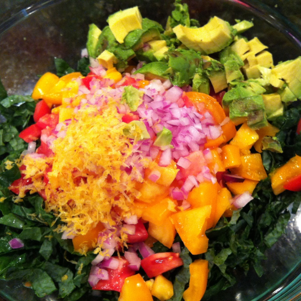 Delish Raw Kale & Avocado Salad from Semi-Sweet: A Practical Guide to Healthy Living
