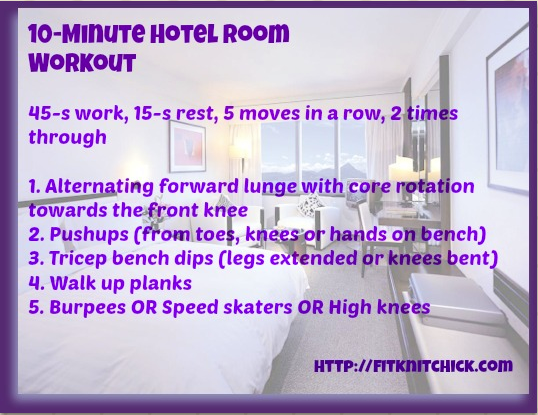 fitknitchick hotel room workout
