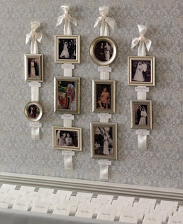 Selecting frames of approximately the same size and color in different shapes, and using images that are either color or black and white enables you to hang them from a cord, ribbon or wire vertically. Although the frames appear to be hanging from the ribbon, the ribbon is placed first and then the frames are hung from picture hooks. This is especially attractive when using wedding photographs or pictures of children. Often seen in a child's nursery, this is a fun way to display pictures with special sentimental value.