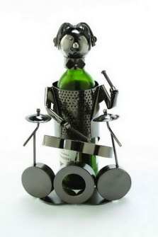 "A metal wine character is a great gift when paired with a delicious bottle of the recipient's favorite wine. It can also be used on the kitchen counter to camouflage your favorite bottle of olive oil. The handmade character will be used over and over again and will always be the ""talk at the table."" They come in several styles, so you're sure to find one that matches the personality of the person lucky enough to receive the gift!"
