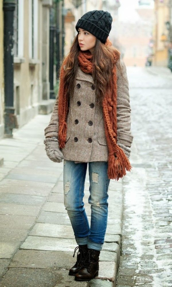 Girl in knit winter scarf