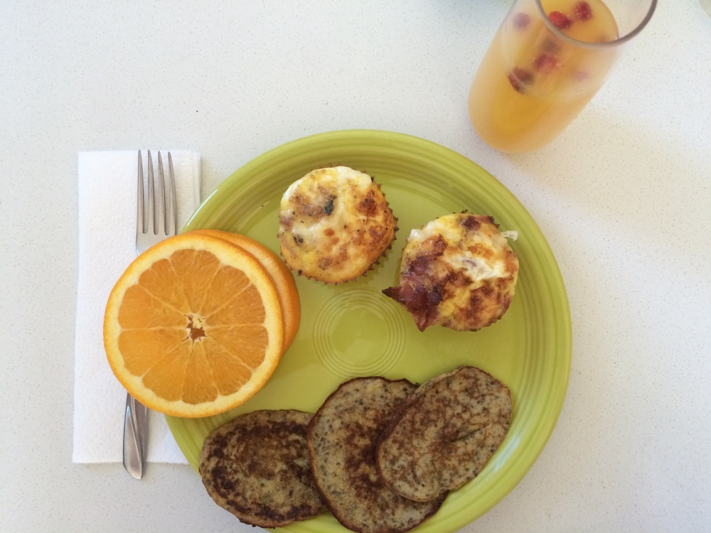 Homemade brunch: 3-ingredient pancakes, egg/hash brown/bacon/cheese muffins, and mimosas
