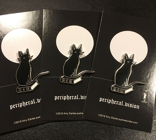 Peripheral.vision hard enamel pins by Amy Earles