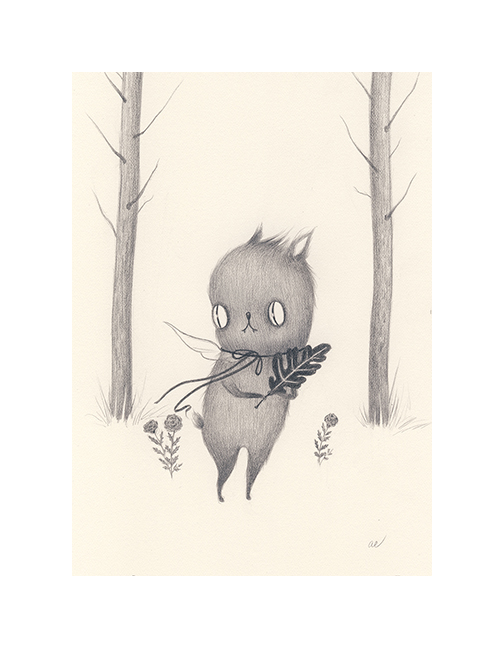 Creature in the Leaves by Amy Earles, SOLD
