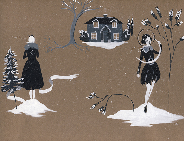 Lure by Amy Earles (SOLD), gouache on tinted paper