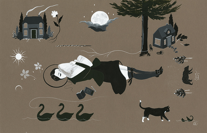 Dreamfilm by Amy Earles for The Fir/The Green (11x17 inches, gouache on paper)