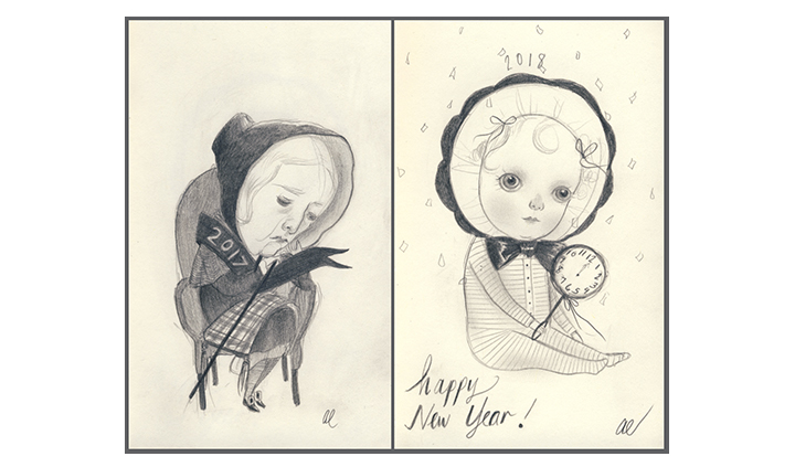New Years Eve Sketchbook pages by Amy Earles