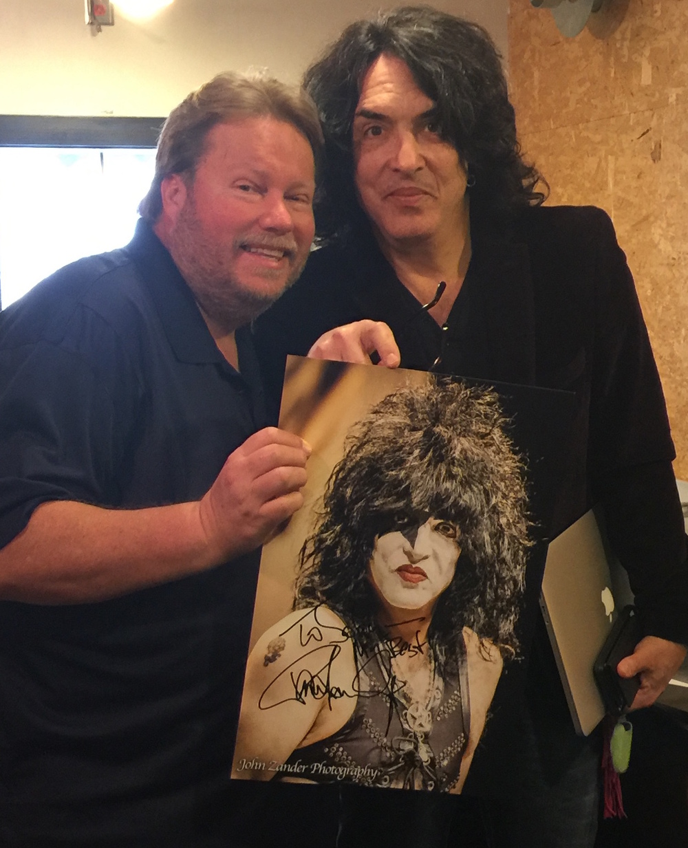 Me and Paul Stanley of KISS with a portrait I shot of him in full KISS make up.